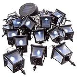 Nexos 24 LED Solar Lichterkette 24 Laternen 3,5 cm Pavillonbeleuchtung Solar-Lichterkette 6,45 m Kabel transparent Akku aufladbar Gartenbeleuchtung
