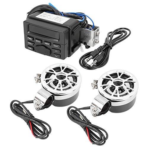 sourcing map Para 25mm Manillar Moto ATV Reproductor de Mp3 Altavoces Amplificador Kit Audio Radio FM 12VDC