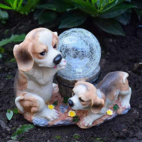 Outdoor Garden Beagle Dogs Ornament With Solar Powered Crackle Ball Colour Changing Solar Crackle Ball Light Decorative Ornament Automatically Switches On Built In Sensor