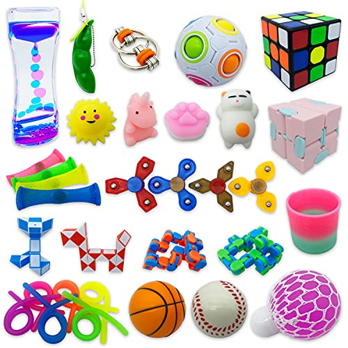 32 Pack Sensory Fidget Toys Set, Stress Relief Kits for Kids Adults, Gifts for Birthday Party Favors, Christmas Stocking Stuffers, School Classroom Rewards, Carnival Prizes, Pinata Goodie Bag Fillers