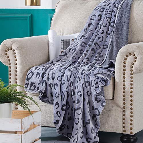 SOCHOW Uragiri Flannel Fleece Throw Blanket, Lightweight Super Soft Cozy Plush Bed Blanket, 150cm × 200cm, Blue Leopard