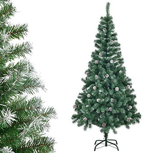 Juskys Weihnachtsbaum 180 cm künstlich mit Schnee & Ständer – Tannenbaum naturgetreu – Deko Christbaum für Innen - Weihnachtsdeko grün/weiß