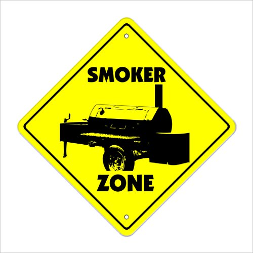 "Smoker Crossing Sign Zone Xing | Indoor/Outdoor | 12"" Tall Plastic Sign bbq barbeque grill bar b que cooking chef pork ribs turkey"