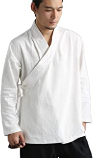 LZJN Men's Cotton Linen Tai Chi Clothing Wing Chun Kung Fu Clothes Long Sleeve Tang Shirt