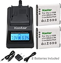 Kastar Ultra Fast Charger Kit and Battery (2-Pack) for Pentax D-LI92 Olympus LI-50B and Ricoh Pentax Optio I-10, RZ10, RZ1...