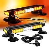 ASPL 16.8 Inch LED Strobe Flashing Light Bar, 26 Flashing Modes High Intensity Emergency Hazard Warning Beacon Lights with Magnetic Base for Car Trucks Trailer Roof Safety (Amber White Amber)
