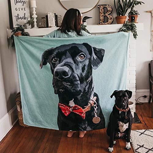 VEELU Hund Fotodecke mit Eigenem Foto Personalisierte Hundedecke - Hunde Katzen Haustier Foto Decke Selbst Gestalten Bedrucken Lassen Kuscheldecke Personalisierte Geschenk 76 x 102cm