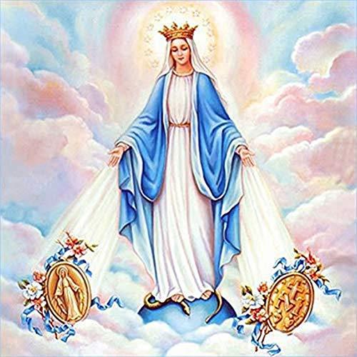 JRGGPO Bordado de Diamantes de Bricolaje, Pintura de Diamantes 5D Virgen María Serie Religiosa Mosaico decoración del hogar Diamante Completo Punto de Cruz regalo-30x30cm