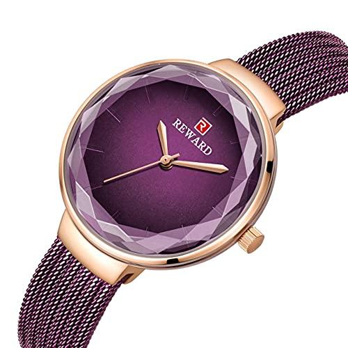 MingXinJia Relojes de Cabecera para el Hogar Relojes de Mujer, Reloj de Cuarzo Analógico para Mujer con Correa de Acero Inoxidable Reloj de Pulsera Reloj de Regalo Relojes Femeninos a Prueba de Agua,
