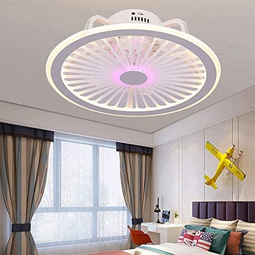 Ventilador de techo con control remoto ligero Lámpara de techo Lámpara de techo Lámpara de viento Lámpara de viento Ajustable Ventilador de ventilador para sala de estar, dormitorio (Color : Purple)