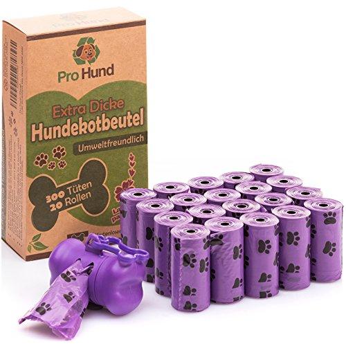 Pro Hund 300 Hundekotbeutel biologisch abbaubar mit Beutelspender und Leinenclip/Kotbeutel mit dezentem Lavendelduft/Lila Hundetüten