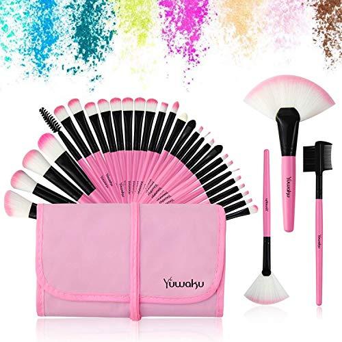 32Pcs Make up Pinsel Set pink, Kosmetikpinsel eyeshadow Lippen Foundation Gesicht pinsel Augen pinsel Lidschatten Brush with pink Nylon tasche (32er in pink)