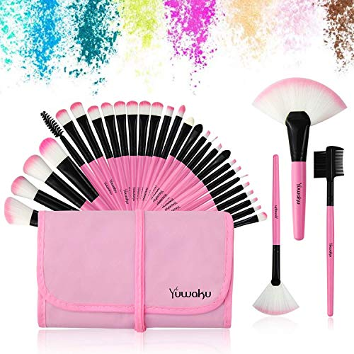 32Pcs Make up Pinsel Set pink, Kosmetikpinsel eyeshadow Lippen Foundation Gesicht pinsel Augen...