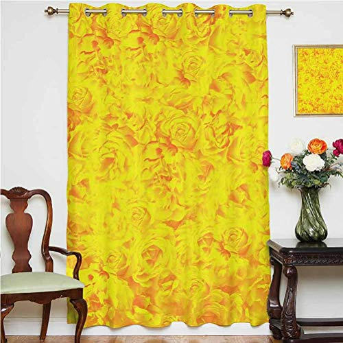 Roses Decorations Window Curtain Lots of Different Size Roses Like Garden Artistic Creative Graphic Design for Sweetheart Grommets Panels Printed Curtains ,Single Panel 52x63 inch,for Bedroom Yellow