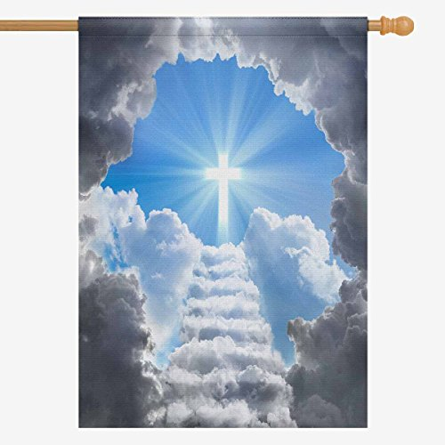 InterestPrint Stairs Leading to Cross Light Among Clouds Decorative Flag House Flag House Banner for Wishing Party Wedding Yard Home Decor 28' x 40' (Without Flagpole)