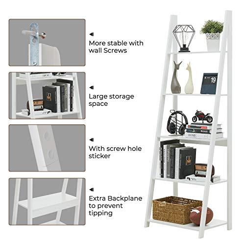 Kicode 5-Tier Ladder Shelf Bookcase, Leaning Bookshelf, Wooden Frame Decor Modern Bookshelf Storage, Flower Shelf Plant Display Shelf for Home Office (White)