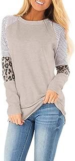 Makulas Womens Crew Neck Sweatshirt Pullover Leopard Print Stripe Patchwork Long Sleeve Tunics Blouse Fashion Tops