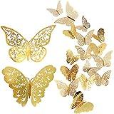 Pegatina de pared de mariposa de 24 piezas, calcomanías de pared de mariposas 3D mixtas, pegatinas de pared de flash vívido para el hogar, el dormitorio, la decoración de la habitación del bebé (oro)