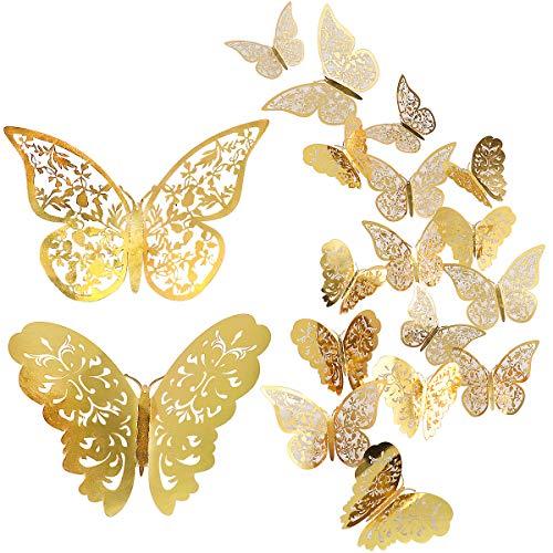 CattleyaHQ 24 Stück Schmetterling Wandaufkleber, Mixed 3D Schmetterlinge Wandtattoos, lebendige Flash Wandaufkleber für Zuhause, Schlafzimmer, Baby Room Decor (Gold)