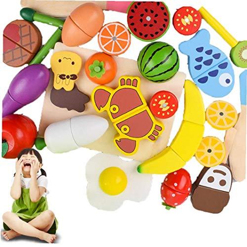 ZYCX123 22PCS Establecer reproducción de la Fruta del alimento Vegetal de Madera y Jugar, Comida de Cocina Accesorios de Juguetes para niños