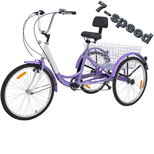 VANELL 7/1 Speed Tricycle Adult 20/24/26 in Trike Cruise Bike 3 Wheeled Bicycle W/Large Size Basket for Women Men Shopping Exercise Recreation (Taro Purple, 24 inch/ 7 Speed)