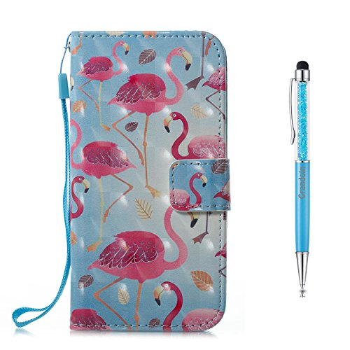 Grandoin iPhone X Hülle, Handyhülle im Brieftasche-Stil für Apple iPhone X,3D Handyhülle Leder PU Magnet Flip Case Schutzhülle Kartensteckplätzen und Ständer Handytasche (Blauer Vogel)