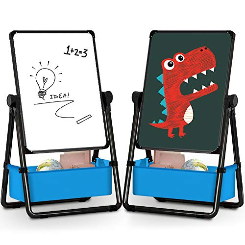 TECHMOO Kids U-Stand Easels Double Side Children Art Whiteboard & Chalkboard Adjustable Height Dry Erase Easel