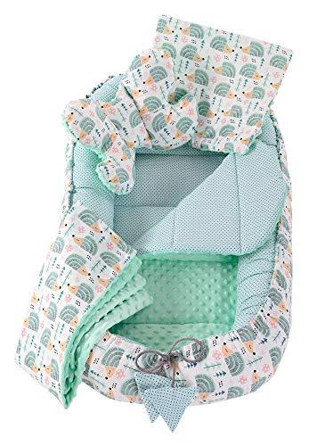 Juego de cuna de 5 piezas incluye nido para bebé de 90x50cm 100% algodón Medi Partners cojín plano manta para gatear cojín de mariposa (Erizos con menta Minky)