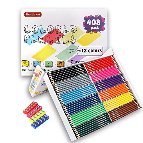 Colored Pencils Bulk, Shuttle Art 408 Pack Coloring Pencil Set Plus 20 Sharpeners, 12 Assorted Colors, Classpack School Supplies