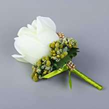 XuBa Simulate Silk Rose with Berry Corsage for Groom Bride Marriage Brooch Pin Fruit Green 3