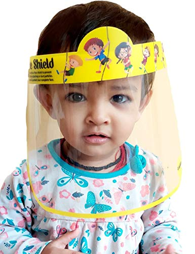 CLASSIK Cartoon Printed KIDS Face Shield PACK OF 2 Isolation Mask for Eyes Nose Full Frontal Protection Child Shield Safety Visor For Girls and Boys 2-12 years age. Yellow Color (PP & PC Material)