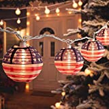 American Flag Christmas Lantern Lights, 6.7 Feet 10 Nylon Collapsible Mini Hanging String Lights, Waterproof Connectable for Room Decor Garden Patio Outdoor Gift Holiday Time Decorations, Warm White