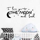 Romantique texte sticker mural je t'aime à la lune et retour citation chambre de...