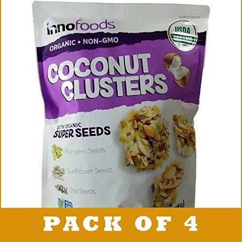 Innofoods Coconut Clusters with Organic Super Seeds - 16 oz bag (Pack of 4)