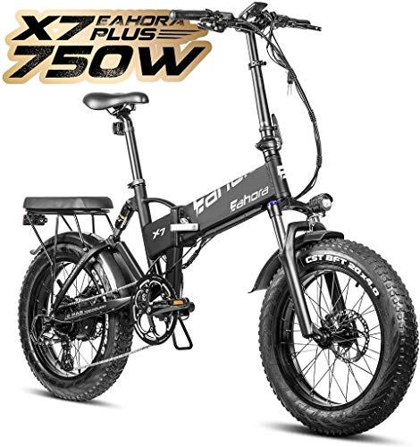 eAhora X7 Plus 750W Fat Tires Folding Electric Bike Full Suspension Hydraulic Brakes 48V Electric Bikes for Adults with Electric Lock, Power Regeneration System 8 Speed Gears, Black
