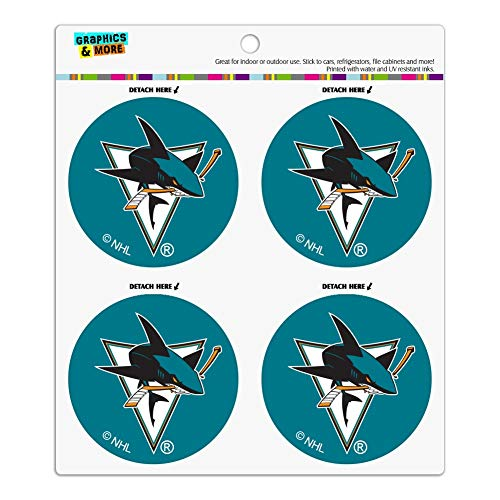 NHL San Jose Sharks Logo Refrigerator Fridge Locker Vinyl Circle Magnet Set