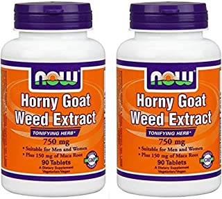 NOW Foods Horny Goat Weed 750 mg-90 Tablets (Pack fo 2)