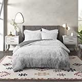CosmoLiving Cleo Luxe Warm Comforter Ombre Super Soft Shaggy Faux Fur Hypoallergenic Down Alternative, Cold Season Modern Bedding, Matching Shams, Twin/Twin XL, Grey 2 Piece