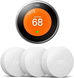 Nest T3007ES Learning Thermostat - 3rd Gen - (Stainless Steel) Temperature Sensor 3 Pack (T5001SF)