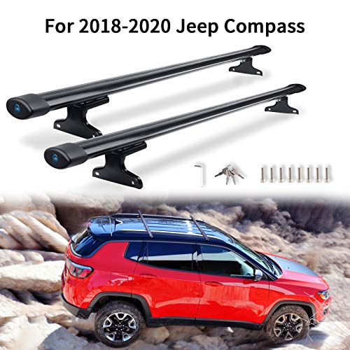 MONOKING Roof Rack Crossbars Compatible with 2018 2019 2020 2021 Jeep Compass with Side Rails, Durable Aluminum Alloy Cargo Racks Rooftop Luggage Cross Bars Carrier Canoe Kayak Bike
