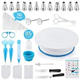【Cake Decorating Kit Includes】-85PCs All-in-one cake decorating kit supplies meet the decorating or practicing needs of cake makers. 1 non-slip revolving cake turntable, 2 Icing Spatula, 3 Icing Smoother, 2 Silicone Piping Bag, 6 Muffin Cups, 12 Numb...