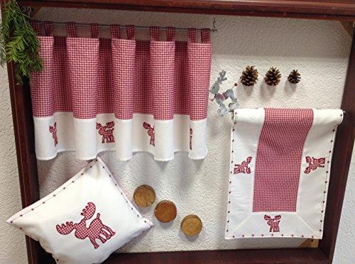 heimtexland Scheibengardine Weihnachten Vichy Karo rot weiß mit süßer Elch Applikation Bestickt HxB 45x145 cm Bistro mit Schlaufen Kurzgardine Vorhang Typ292