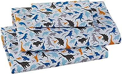 Better Home Style Dinosaur Jurassic Park World White Blue Grey and Tan Kids/Boys/Toddler Sheet with Pillowcases Flat and Fitted Sheets # Royal Dino