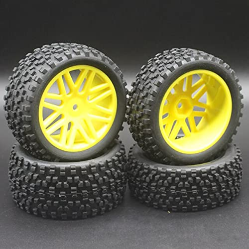 3 unids / Lote de Goma para RC 1/10 Buggy Ruedas y neumáticos 1mm Hex Hub Mount para RC Off Road Car para HSP HP ( Color : Yellow )