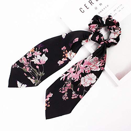 yangzhoujinbei Karakteristieke 45 Stijlen Hot Zomer Tropische Stijl Echte Zijde Boog Lange Haar Scrunchie Vrouwen Haar Sjaal C18-Forged small flowers with black