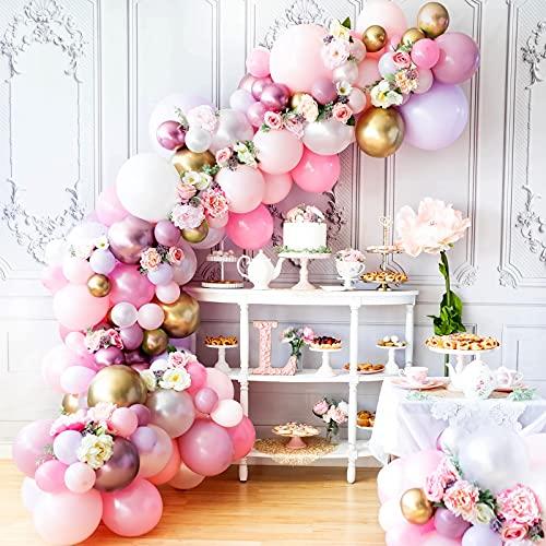 Balloon Garland Kit, MMTX Pink Purple Balloon Arch Kit Girls Birthday, 103PCS Pink Purple Gold and White Macaron Balloon for Hen Party Decoration Birthday Wedding for Girls Women