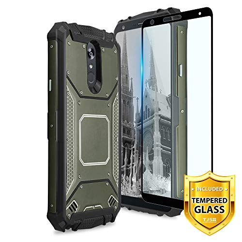 TJS Phone Case for LG Stylo 5/Stylo 5 Plus/Stylo 5V/Stylo 4/Stylo 4 Plus/Q Stylus Plus/Q Stylus Alpha, with [Full Coverage Tempered Glass Screen Protector] Aluminum Magnetic Support Cover (Green)