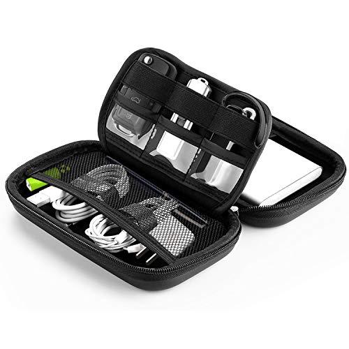 Bapack Funda Disco Duro Externo 2,5', Escuche para Cables Impermeable Bolsa de Cable Multifucional para Viaje Cables USB Power Bank Auriculares Tarjeta de Memoria- Negro