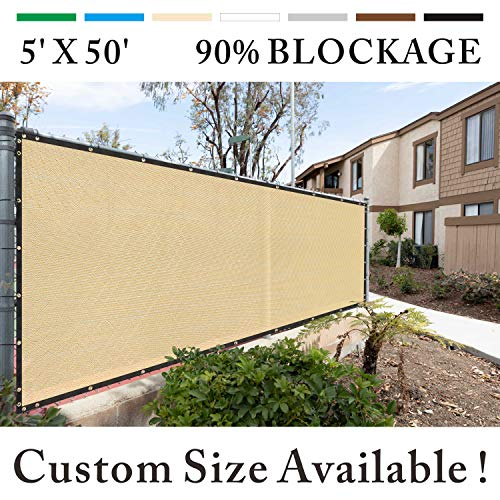 Get Your Privacy Today Stop Neighbor Seeing-Through Stop Dog Barking Protect Property WE Custom Make Size Royal Shade 8 x 1 Beige Fence Privacy Screen Windscreen Cover Netting Mesh Fabric Cloth