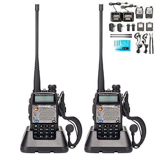 BaoFeng UV-5R Upgrade Version UV-5XP Extended Battery VHF UHF Two Way Radio 7.4v 8W Dual-Band Walkie Talkie 2 Pack 3